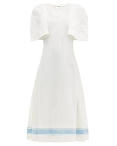 Slit-sleeve cotton-blend dress