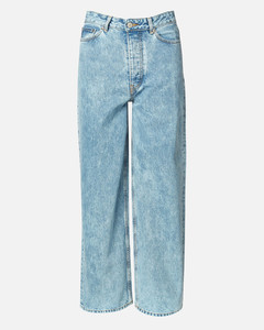 Women's Washed Denim Wide Leg Jeans - Washed Indigo