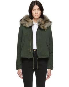 绿色Jazzy皮毛短款羽绒夹克