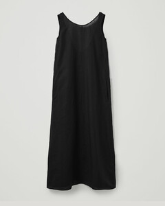 LINEN FLOOR LENGTH EXPOSED BACK DRESS