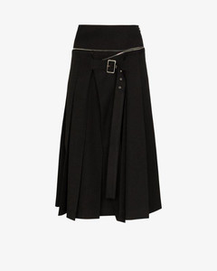 Womens Black Unbalanced Box Pleat Wool Skirt