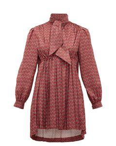 Pleated high-neck paisley-print satin mini dress