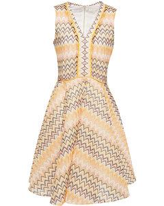 Reine flared crochet-knit mini dress
