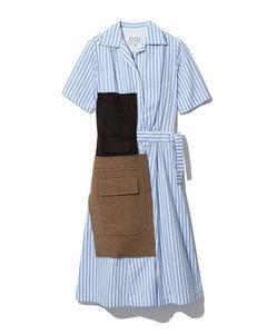 条纹百褶半身裙