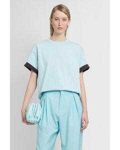 Blue Silk Jacquard Crewneck Pullover