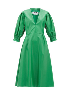 V-neck faux-leather midi dress
