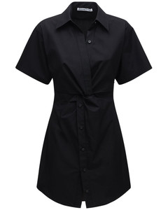 Cotton Poplin Mini Dress W/ Cutouts