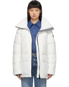 白色Ockley黑标羽绒派克大衣