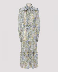 Flowered silk midi dress