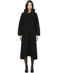 黑色Cocoon连帽套头连衣裙