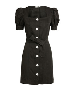 Belted Puff-Sleeved Dress