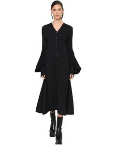 Flared Wool Crepe Midi Dress