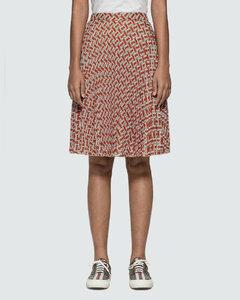 Monogram Print Chiffon Pleated Skirt