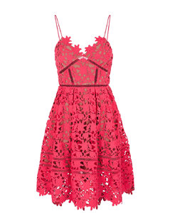Azaelea hot pink floral guipure lace mini dress