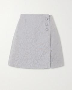 刺绣围裹效果梭织迷你半身裙