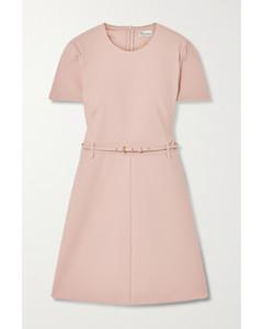 配腰带绉纱迷你连衣裙