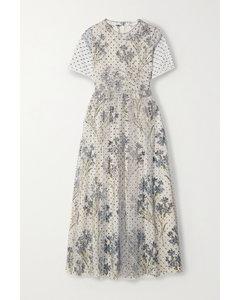 亮片金葱绢网花卉印花双绉中长连衣裙