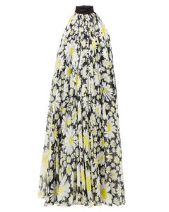 Halterneck daisy-print chiffon dress