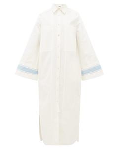 Striped-cuff cotton-blend poplin shirtdress