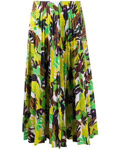 leaf-print pleated skirt