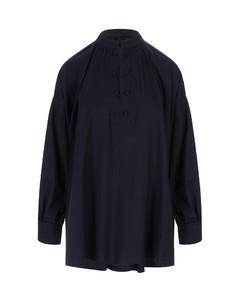 Anet monogram-embroidered silk midi shirt dress