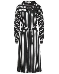 Raji belted striped twill midi dress