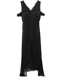 Woman Asymmetric Cold-shoulder Chantilly Lace-trimmed Satin Dress