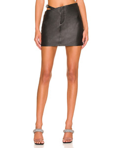 Chevron-stripe lace-knitted mini dress