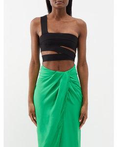 高腰金属感光泽长裤