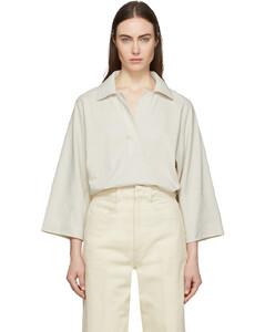 灰白色七分袖Polo衫