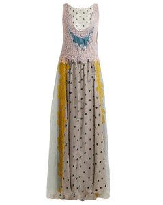 Flocked-floral velvet dress