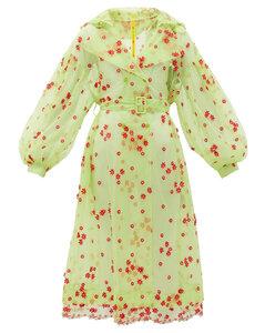 Coronilla daisy-embroidered tulle coat