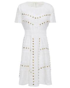 Flared studded lace mini dress