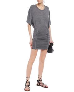 Speedy braid-trimmed ruched jersey mini dress