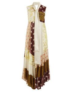Daisy neck-tie patchwork maxi dress