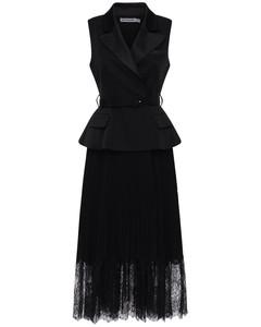 Sleeveless Crepe & Chiffon Midi Dress