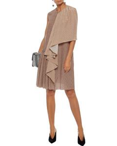 Draped printed silk dress