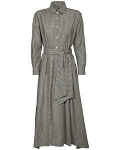 格纹羊毛华达呢衬衫连衣裙