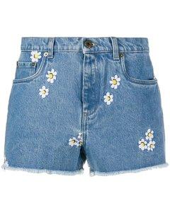 花卉刺绣牛仔短裤