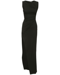 Ruched Stretch Viscose Blend Long Dress