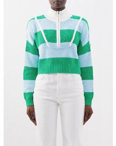 条纹棉质中长连衣裙