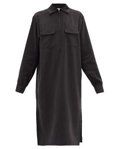 Flap-pocket silk-blend midi dress