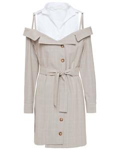 Cold-shoulder cotton poplin-paneled checked woven mini dress