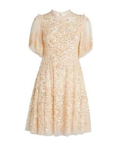 Honesty Flower Embellished Mini Dress