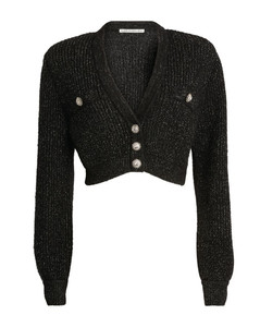 Crystal-Button Cropped Cardigan