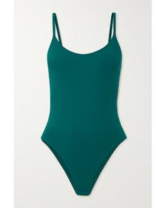 中长格纹连衣裙