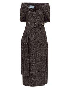 Cape-panel wool-blend tweed dress