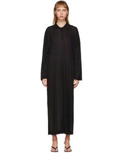 黑色Barzio Polo衫连衣裙