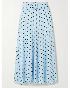 Luda配腰带波点绉纱中长半身裙