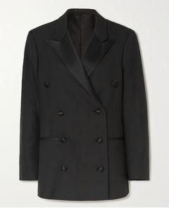 Loreo大廓形双排扣真丝混纺边饰斜纹布西装外套